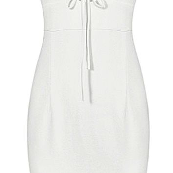 Clarissa Draw-string Turtleneck Bandage Dress - White