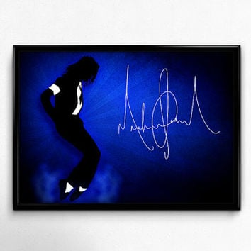 Micheal Jackson Poster Print Printable Instant Download Blue - 4 Files