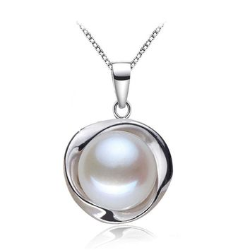 Real Pearl Pendants 925 sterling silver freshwater pearl pendant for women,natural pearl pendant necklace white birthday gift