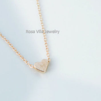 Tiny Gold Heart Necklace - dainty, cute and lovely pendant jewelry; love heart; minimalist necklace; I love you necklace