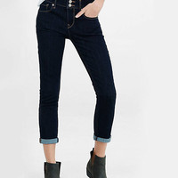 Mid Rise Dark Blue Cropped Cuffed Jean Leggings from EXPRESS