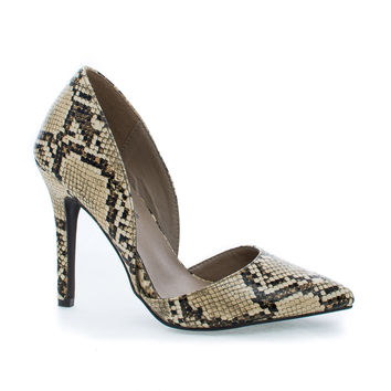 Mavis24 D'Orsay Pointy Toe Slip On Stiletto Heel Dress Pumps