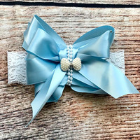 Over the Top Satin Pearls and Lace Bow Headband - Stacked Bow - Big Bow - Baby Girl Headband - Headbands for Babies - Girls Hair Bows - Baby