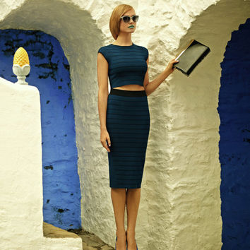 Ottoman knit midi skirt - Navy | Skirts | Ted Baker UK