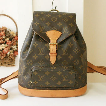 Louis Vuitton Backpack LV Montsouris MM Vintage Handbag Monogram France Authentic