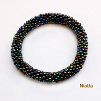 Black Iridescent Roll On Bracelet Crochet Bead Rope Bangle Niatta