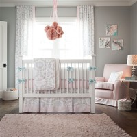 Pink and Gray Rosa Baby Crib Bedding