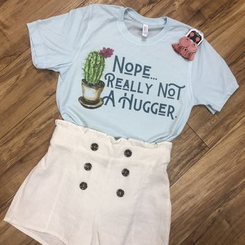 Nope Not a Hugger Cactus Tee-Blue