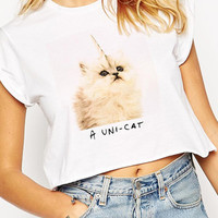 White Graphic Tee Short Sleeve Crop Top