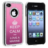 Apple iPhone 4 4S 4G Pink S1661 Rhinestone Crystal Bling Aluminum Plated Hard Case Cover Keep Calm and Love A Marine