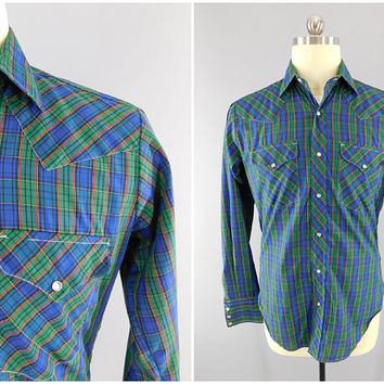 1980s Vintage / Western Shirt / Blue Plaid / Pearl Snap Buttons / Scalloped Shoulders / Long Sleeve / Size L / Ruddock Shirts / Ranch Wear