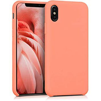 kwmobile TPU Silicone Case for Apple iPhone X - Soft Flexible Rubber Protective Cover - Coral