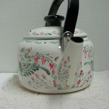 Tea Kettle, White Enamel Teakettle, New Farberware Kettle, Hand Painted,Scandinavian Bavarian  Folkart, , Design.Stove Top Safe.