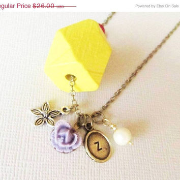 Spring SALE Wooden Charm Necklace /Tribal Personalized Necklace / Stamped Initials / Charms with Flower/Great gift