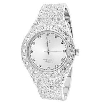 Men's Silver Tone Iced Out Solitaire Bezel Nugget Band Watch