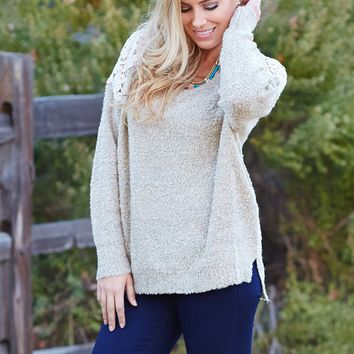 Mocha-Sparkle-Crochet-Shoulder-Knit-Sweater