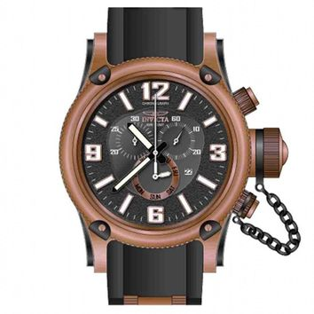 Invicta 11363 Men's Russian Diver Chronograph Black Dial Black Rubber Strap Rose Gold Tone Stainless Steel Dive Watch