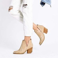 Talia Stitch Booties in Sand