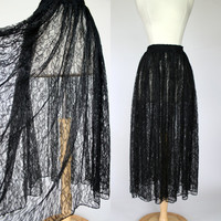 1980's black lace sheer maxi skirt, Bohemian meets Gypsy Goth, high waist long floor length skirt, S to M see through broom stick skirt