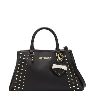 Betsey Johnson Hearts Fire Studded Satchel Bag, Black