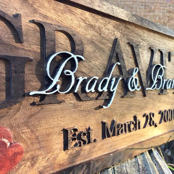 Carved Wood Established Sign, Family Name, Wood Stained Sign, Cabin Decor, Hearts, Rings, Wedding Gift, 3d Decor, Anniversary Gift, Birthday