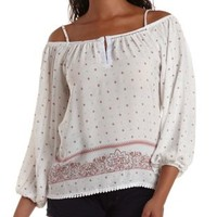 Ivory Combo Cold Shoulder Border Print Top by Charlotte Russe