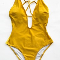 Cupshe Sunshine Zone Solid One-piece Swimsuit