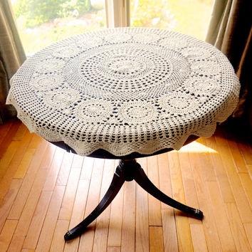"Vintage 34"" Crocheted Tablecloth, Ecru Doily,Small Round Tablecloth,Vintage Doily,Crocheted Centerpiece,Crochet Table Topper, Vintage Linens"
