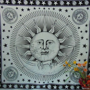 BSD316 Good morning Sun tapestry white zodiac tapestry, horoscope wall hanging astrology wall decor, celestial tapestry sun and moon blanket