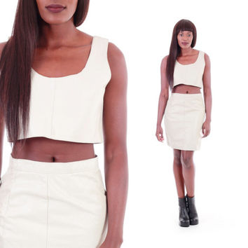 Ivory Leather Twin Set Crop Top High Waist Skirt Two Peice Outfit Rocker 80s 90s Minimalist Hipster Summer Clothing Womens Size Small