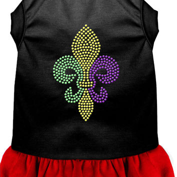Mardi Gras Fleur De Lis Rhinestone Dress Black with Red XS (8)