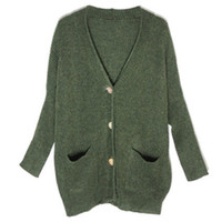 Batwing Sleeves Loose Style Green Cardigan [NCSWB0201] - $41.99 :