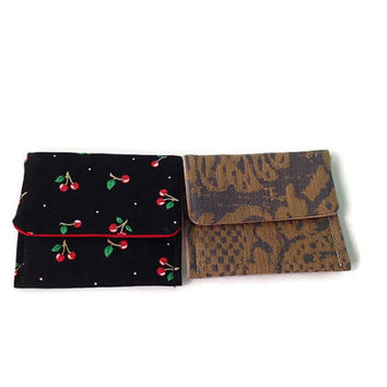 Cherries on Black and Antique Tan and Blue Damask Mini Pocket Wallet Your Choice of One