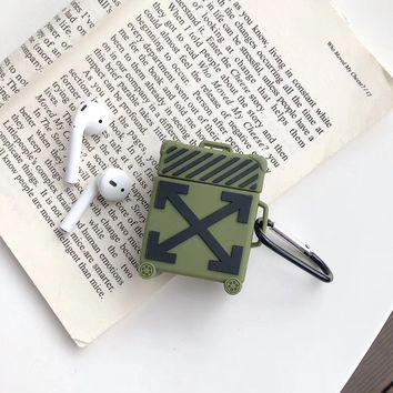 Off White Protective Apple Airpod Case - Green