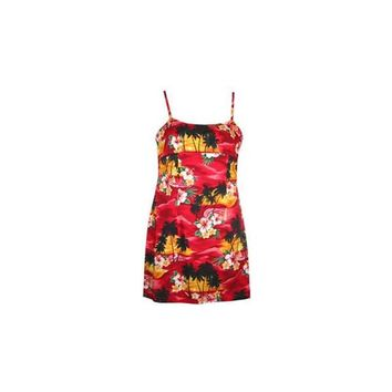 Sunburst Red Short Hawaiian Skinny Strap Floral Dress