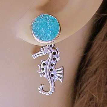 Seahorse Earrings Turquoise Druzy Stud Earrings Front Back Earrings Reverseable Beach Wedding Jewelry Stained Glass Sea Blue Earrings