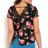Short Sleeve Floral Print Tee with Lace Back