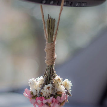 Dried Flower Bouquet, Small Flower Bouquet, Boho Decor, Car Accessory For Women, Toss Bouquet, Car Charm, Flower Decor, Bridesmaids Gifts