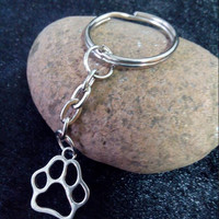 Dog Cat Paw Print Charm DIY Keychain,Silver Tone Key Chain Keyring Fashion  Pendant Jewelry 50pcs/lot J0