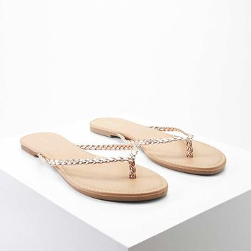 Metallic Braided Thong Sandals