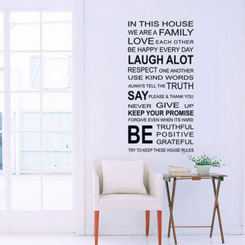 English Proverbs Wall Sticker Family House Rules Wall Stickers Decal Removable Decor Home Kids Great Gift Wallpapers