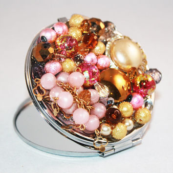 Pink Jeweled Compact Mirror
