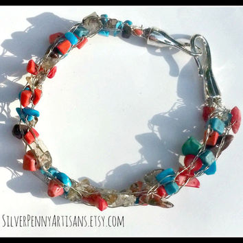 OOAK Southwestern Beaded Wire Knit Jewelry/ Plus Sized Bracelet/ Armlet/ Anklet/ Southwestern Silver Jewelry 15B106