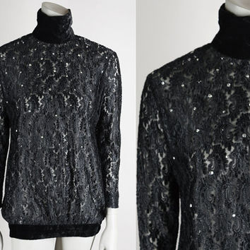 Vintage 90s Blouse / 1990s Sheer Black Lace and Velvet Rhinestone Turtleneck Open Back Tunic XS S