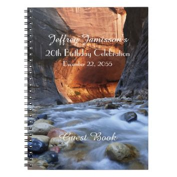 20th Birthday Party Guest Book, Zion Narrows Notebook