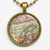 Pensylvania Map Necklace - Vintage Map of Pensylvania-Vintage Map Series