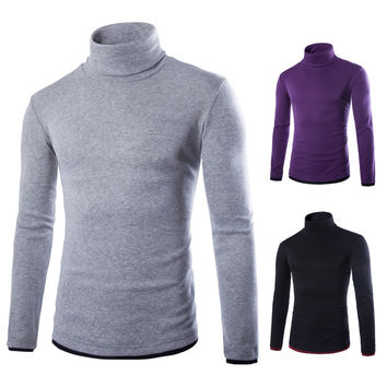 2015 New Basic Style Men's Sweaters Turtleneck Knit Pullover Autumn Slim Fit Elastic Pull Homme Patterns Solid Mens Sweater 796