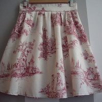 Red and Beige Toile High Waisted Skirt
