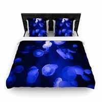 "Juan Paolo ""Jellyfish Blue"" Blue Black Woven Duvet Cover"