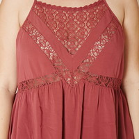 Plus Size Lace-Paneled Cami